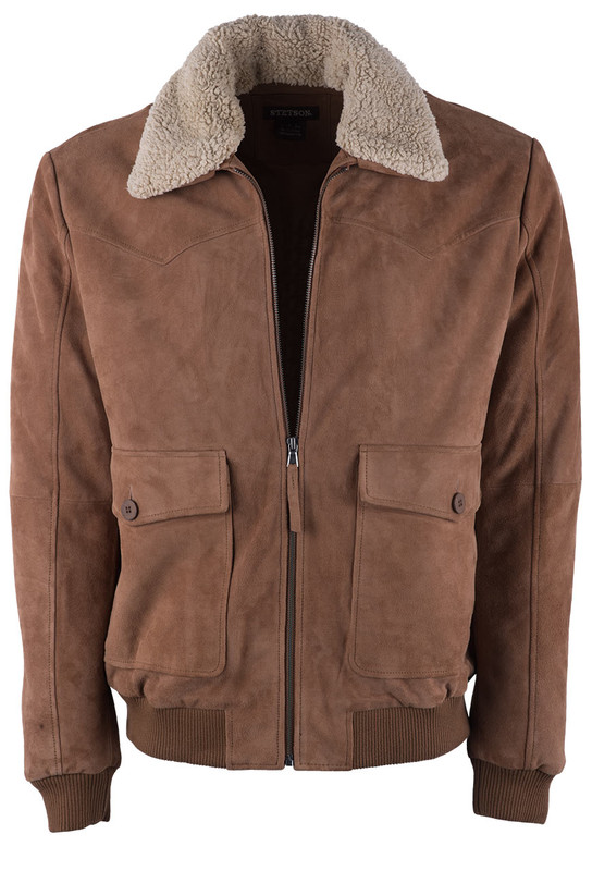 Stetson Antique Brown Suede Bomber Jacket - Front