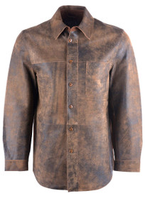 Madison Creek Brown Goat Leather Bandera Shirt Jacket - Front