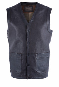 Madison Creek Men's Chocolate Bozeman Leather Vest - Front