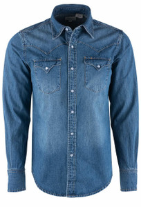 Stetson Men's Denim Shirt with Embroidered Back Yoke - Front