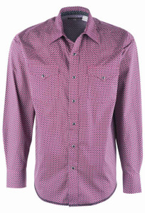 Stetson Men's Red 91 Brick Geo Print Snap Shirt - Front