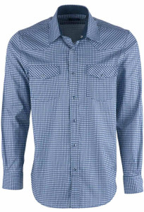 Pinto Ranch YY Collection Classic Navy Cubic Block Snap Shirt - Front