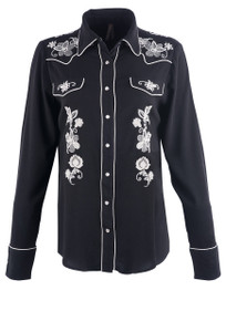Stetson Women's Black Cowgirl Embroidered Snap Shirt - Front