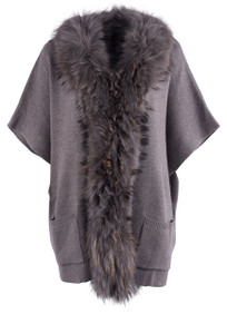 Metric Women's Knit Fox Trim Cape Cardigan - Front