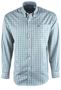 Cinch Men's Khaki Check Tencel Sport Shirt - Front
