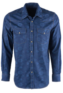 Pinto Ranch YY Collection Men's Denim Floral Snap Shirt - Front