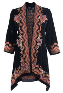 Paparazzi by Biz Women's Black Kimono with Rust Flowers - Front