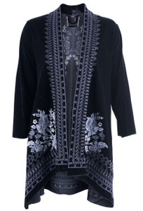 Paparazzi by Biz Women's Black Kimono with Silver Flowers - Front