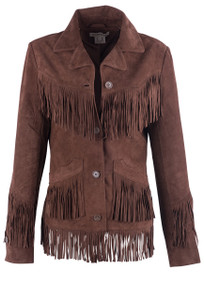 Stetson Women's Lamb Leather Suede Fringe Jacket - Front