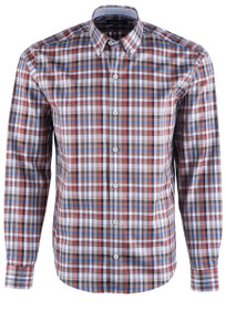 Bugatchi Men's Mocha Plaid Shirt - Front
