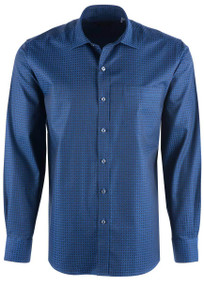 Bugatchi Men's Night Blue Mosaic Shirt - Front