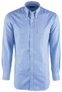Pinto Ranch YY Collection Men's Multicolor Blue Check Dress Shirt - Front