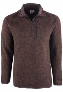 Stetson Brown Bonded Zip Knit Sweater - Front