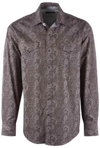 Stetson Sandy Brown Paisley Snap Shirt - Front