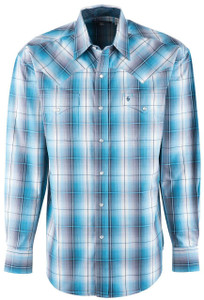 Stetson Blue Storm Cloud Ombre Plaid Snap Shirt - Front