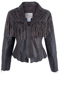 Cripple Creek Women's Leather Jacket With Fringe & Studs - Front