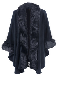 Metric Women's Faux Fur Trim Cape - Front