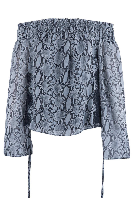 Miss Me Women's Sweet Love Snake Print Blouse - Front