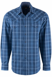 Stetson Men's Smoky Blue Plaid Snap Shirt - Front
