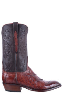 Lucchese Men's Antique Italian Red Giant Gator Boots - Side