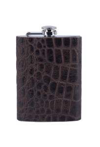 Embossed Gator 8oz Flask - Front