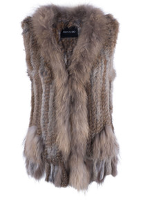 Dolce Cabo Rabbit and Raccoon Fur Vest - Front