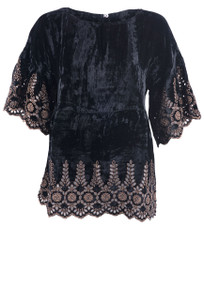 Ivy Jane Women's Black Velvet Top with Cinnamon Trim - Front