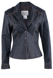 Cripple Creek Women's Contrast Leather Jacket with Lace & Studs - Front