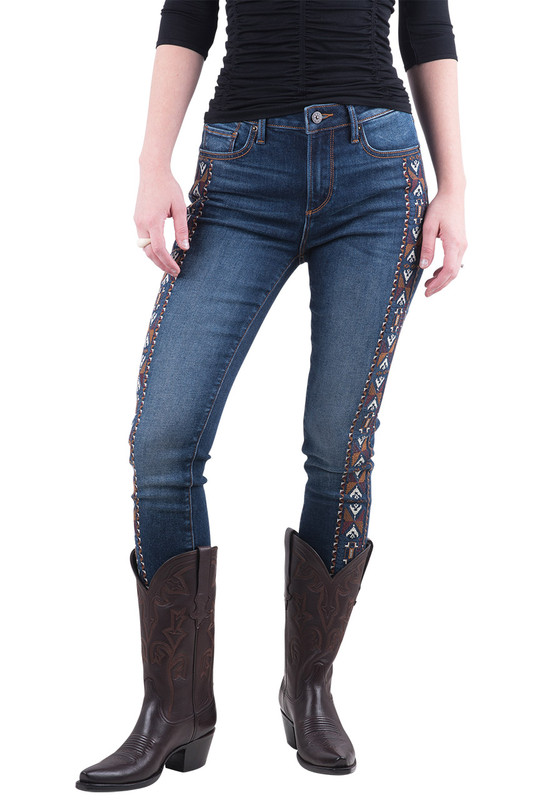 Driftwood Jackie Side Embroidered Jeans - Front