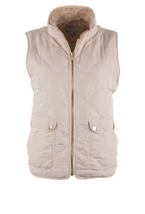 W.A.Y. Women's Quilted Reversible Sherpa Vest - Ivory - Front