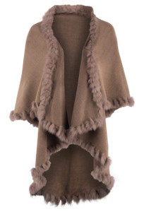 Heidi Kagan Designs 4 Way Fur Shawl -Caramel - Front