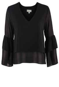 Veronica M Women's Black Chiffon Layered Top - Front