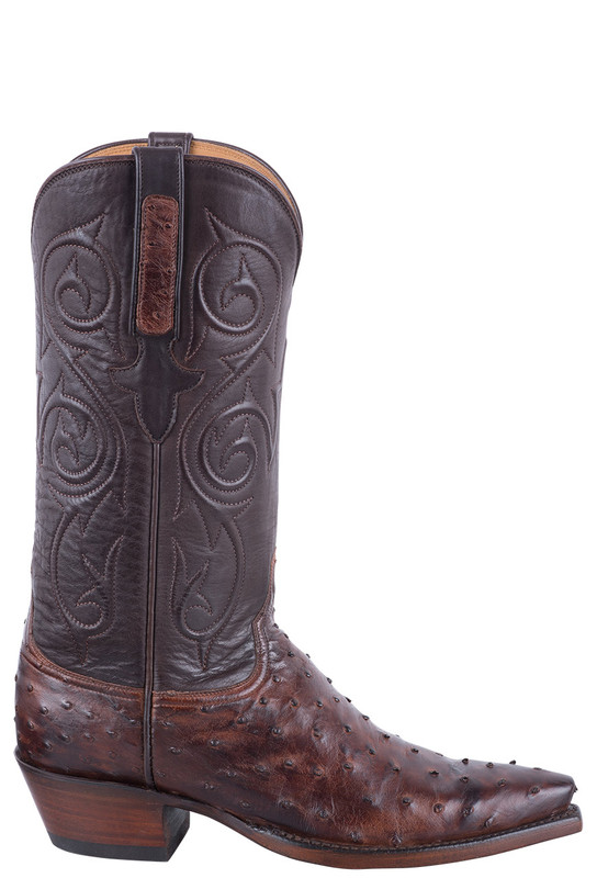 Lucchese Women's Antique Chocolate Full Quill Ostrich Boots - Side