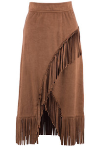 W.A.Y. Women's Cognac Pull-On Skirt with Fringe - Front