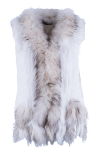 Dolce Cabo Rabbit and Raccoon Fur Vest - Ivory - Front