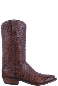 Lucchese Men's Antique Chocolate Full Quill & Smooth Ostrich Boots - Side