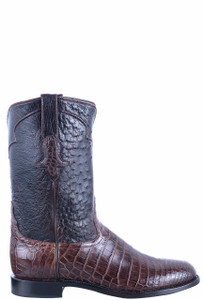 Tony Lama Signature Series Men's Dark Nicotine Nile Belly & Ostrich Roper Boots - Side