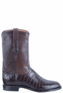 Tony Lama Signature Series Men's Chocolate Nile Belly Roper Boots - Side