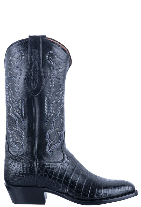 Tony Lama Signature Series Men's Black Nile Belly Boots - Side