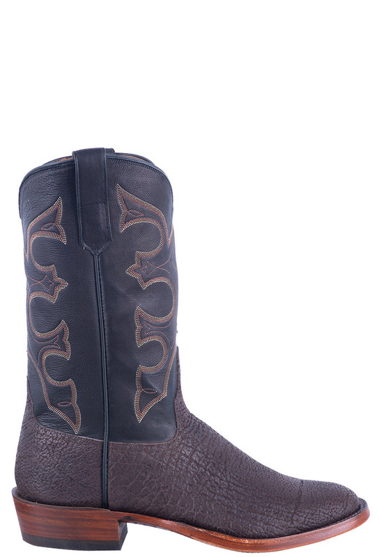 Rios of Mercedes Men's Chocolate Polished Hippo Cowboy Boots - Side