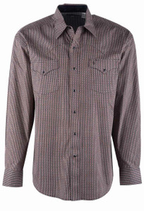 Stetson Brown Clementine Geo Print Snap Shirt - Front