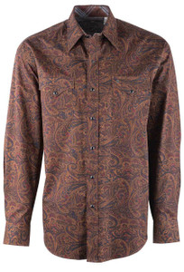 Stetson Men's Brown Saddle Paisley Snap Shirt - Front