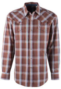 Stetson Men's Brown Clay Plaid Snap Shirt - Front