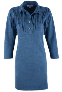 W.A.Y. Women's Blue Collared Fringe Dress - Front