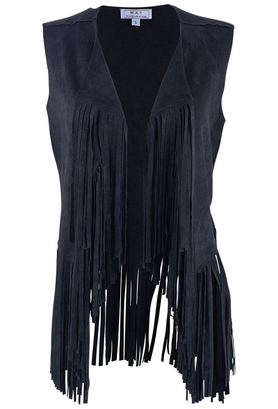 W.A.Y. BLACK FAUX-SUEDE VEST WITH FRINGE