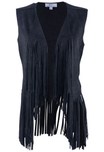 W.A.Y. Black Vest with Fringe - Front