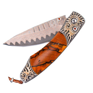 William Henry Spearpoint Mayan Flame Pocket Knife - Front