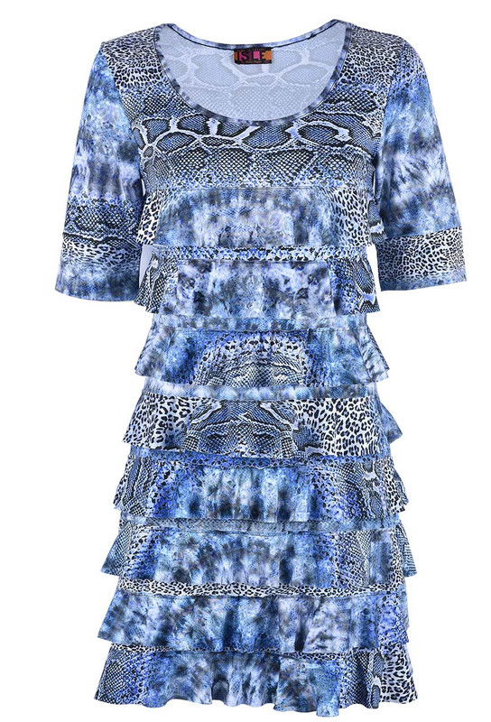 ISLE BLUE SNAKE LEOPARD CHA CHA DRESS