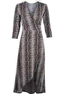 Veronica M. Kravitz Snake Skin Wrap Dress - Front