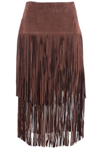 Stetson Suede Fringe Tiered Skirt  - Front